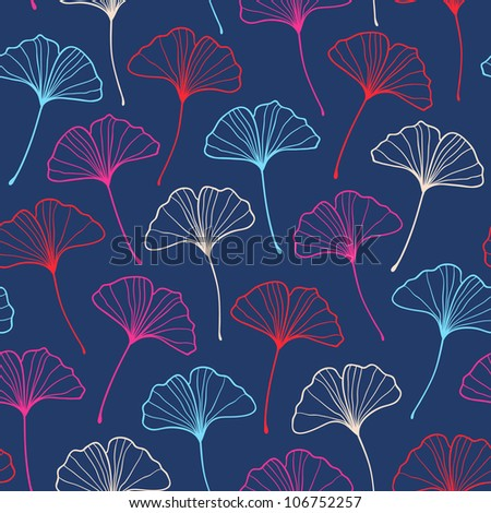 Seamless fashionable ginkgo pattern. Vector illustration