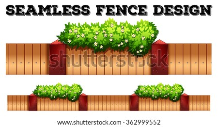 Seamless fence design with flower illustration