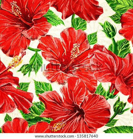 Seamless fhibiscus flowers pattern, hand-drawing. Vector, EPS 10
