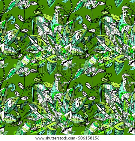seamless floral background green style. Vector. Bud flowers. #506158156