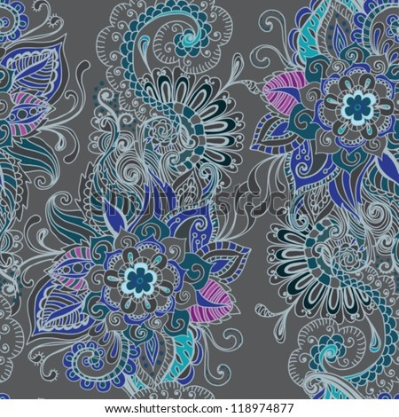 Seamless floral background, hand drawn illustration for design, vector