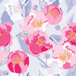 Seamless floral  background. Isolated red and pink flowers and leafs on background. Vector illustration.