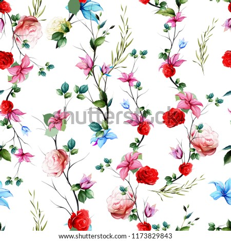 Seamless floral background pattern. Abstract flowers, roses, branches with leaves on white. Pattern for textile, fabric and other prints purpose. Hand drawn artwork, vector wallpaper.