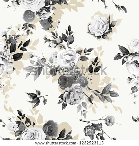 Seamless floral background pattern. Peony, sakura with branсhes and abstract flowers and leaves on white. Artwork for textile, fabric and other prints purpose. Hand drawn vector - stock.
