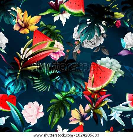 Seamless floral background pattern. Watermelon, peony flowers, tropic leaf on dark blue. Abstract, hand drawn. ストックフォト ©