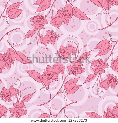 Seamless floral background, pink kobe flowers and leaves and abstract pattern. Vector - stock vector