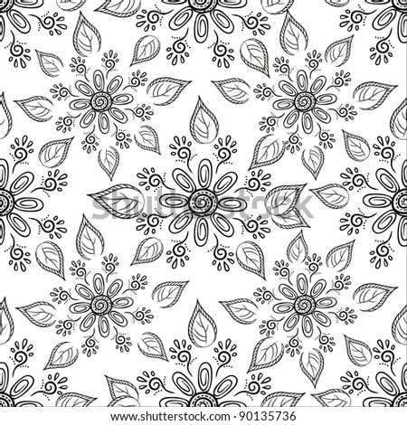 seamless floral background, symbolical flowers and leafs, contours. Vector