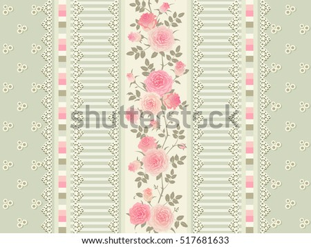 Seamless Floral Background Vector Pattern With Laces Stripes And Pink Roses Shabby Chic