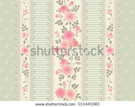 Seamless floral background. Vector pattern with laces, stripes and pink roses. Shabby chic style.