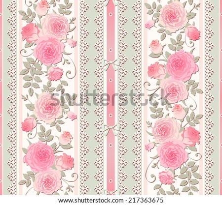 Seamless Floral Background Vector Polka Dot Striped Pattern With Lace Bows And Roses