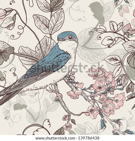 Seamless floral background with bird The wallpaper in vintage style