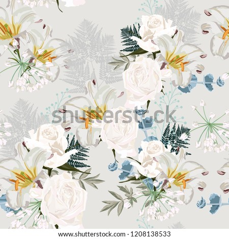 Seamless floral background with bouquets of roses and lilies. Wedding wallpaper with lily and herbs on the light background
