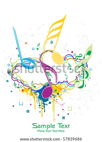 seamless floral background with colorful grunge, musical notes