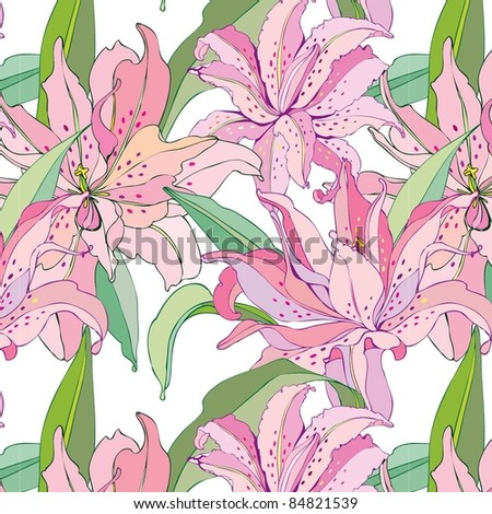 seamless floral background with pink lilies