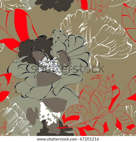 Seamless floral background with red leaves