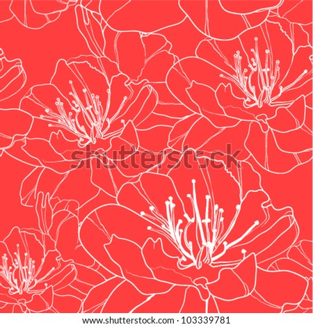 Seamless floral background with white outlined flowers on red. (vector)