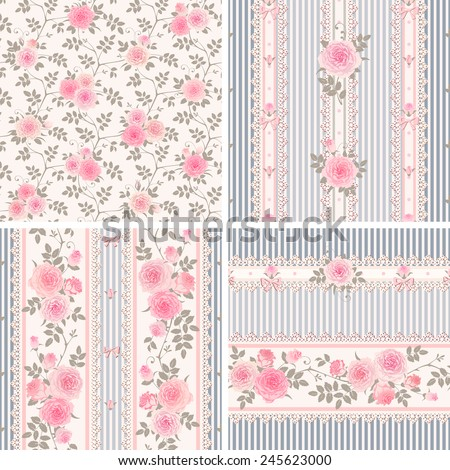 Seamless floral backgrounds and borders. Set of shabby chic style striped patterns with pink roses.