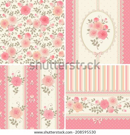 Seamless floral backgrounds and borders Set of vector patterns with pink climbing roses