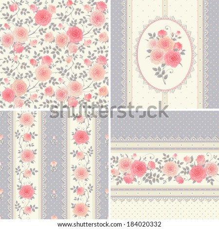Seamless floral backgrounds and borders Set of vector polka dots patterns with climbing roses