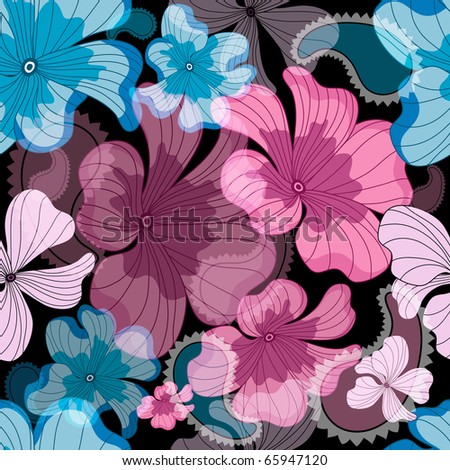 Seamless floral black pattern with pink and blue flowers (vector eps 10) - stock vector