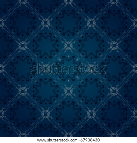 Seamless floral blue pattern. Illustration vector. - stock vector