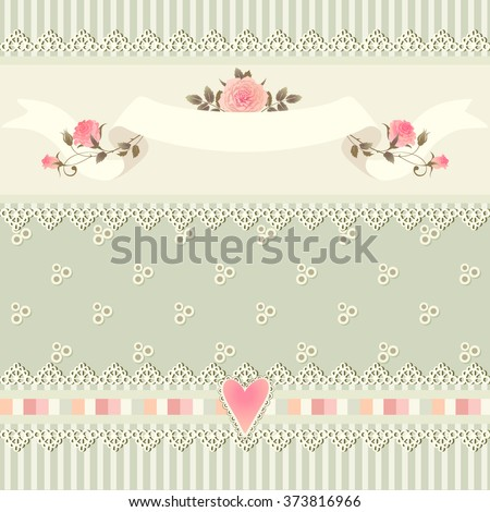 Seamless floral border. Shabby chic style striped pattern with roses, heart, laces and ribbons.