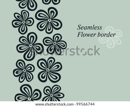 Seamless floral border. Vector illustration.