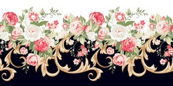 Seamless floral border with elegant roses