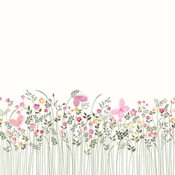 seamless floral border with roses and butterflies