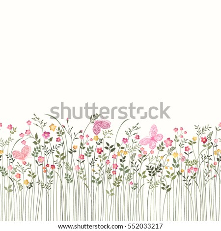 seamless floral border with