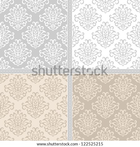 Seamless floral damask pattern. Seamless pattern can be used for wallpaper, pattern fills, web page background,surface textures, wrapping paper. Floral textile background