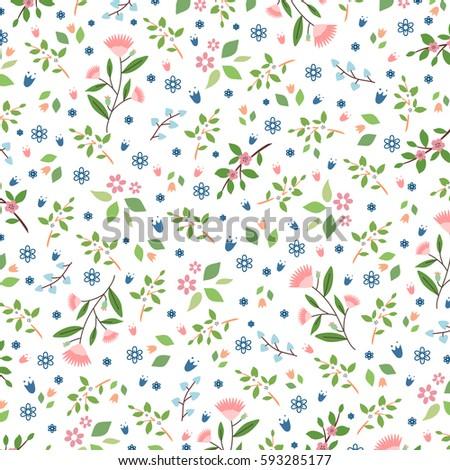 Seamless floral decorative vector pattern. Design print flowers background.