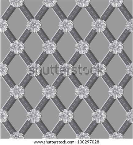 Seamless floral diagonal pattern. (vector)