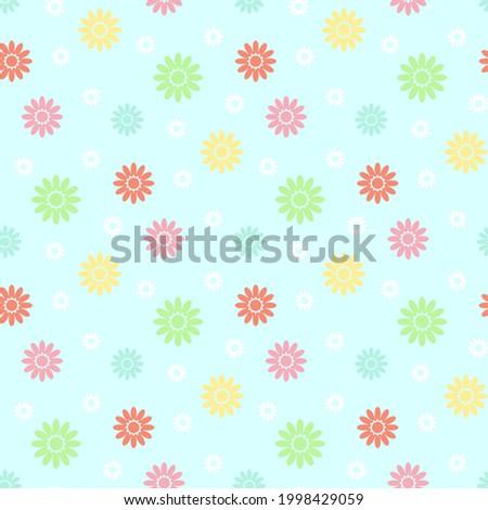 Seamless floral fabric pattern. Spring, summer design. Vector, illustration. Stok fotoğraf ©