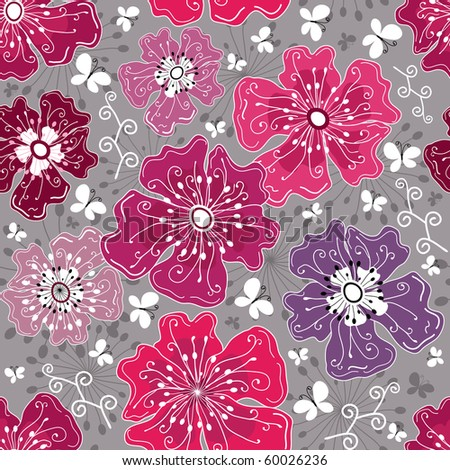 Seamless floral grey pattern with flowers and butterflies (vector) - stock vector