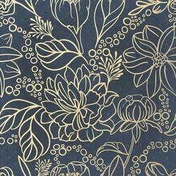 Seamless floral hand drawn detailed pattern, bouquet of flowers. Golden flowers on vintage dark blue background