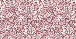 Seamless floral lace background. Abstract texture with stylized flowers and leaves. Ornamental pink pattern.