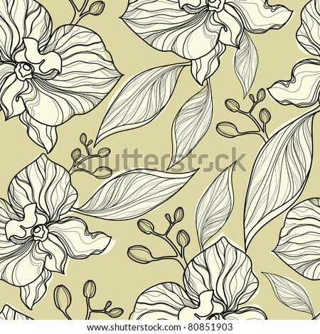 """Seamless floral orchid pattern (from my big """"Flower-set collection"""")"""