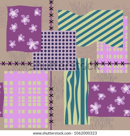 Seamless floral patchwork pattern. Flowers and geometric shapes. Flower background for textile, cover, wallpaper, gift packaging, printing.Romantic design for calico, silk. #1062000323