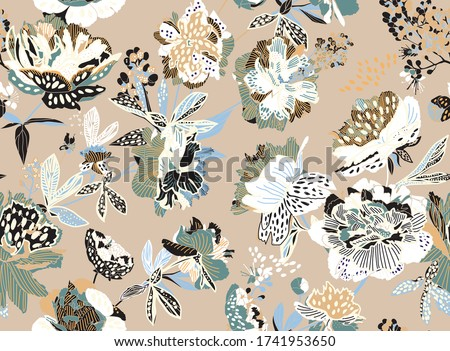 Seamless floral pattern - a bouquet of peonies. Beautiful textile pattern of flowers and leaves. Photo stock ©