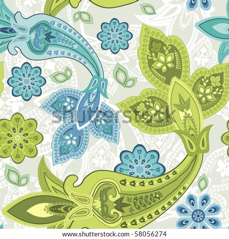 stock vector : Seamless floral pattern abstract flowers, paisley decoration.