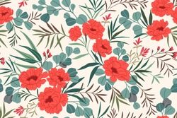 Seamless floral pattern. Beautiful bouquet of red peonies and small flowers and leaves. Gentle flowers on white rectangular background in trendy fashion oriental style. Stock vector print.