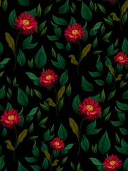 Seamless floral pattern. Blooming aster flowers, luscious foliage. Bright colors on a black background. Vector illustration.