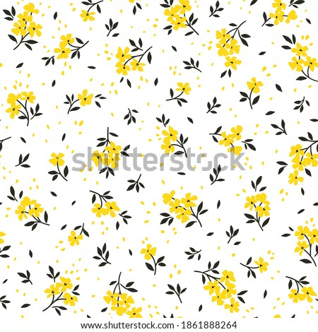 Seamless floral pattern. Ditsy background of small yellow flowers and black leaves. Small-scale flowers scattered over a white background. Stock vector for printing on surfaces and web design.