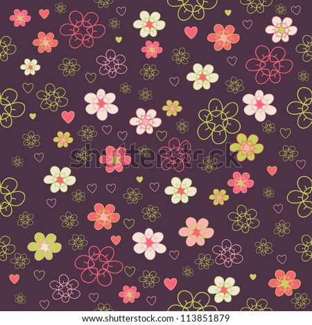 Seamless floral pattern. Flower texture. Illustration with colorful flowers