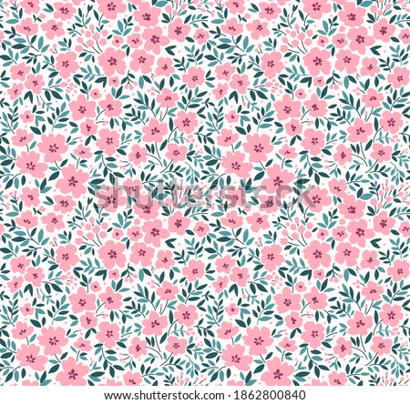 Seamless floral pattern for design. Small pink flowers. White background. Modern floral pattern. Ditsy style. Elegant template for fashion prints. Stock. Stock photo ©