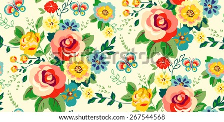 Seamless Floral Pattern for girls in Vector  - stock vector