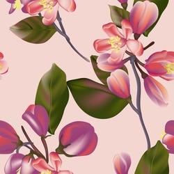 Seamless Floral Pattern in vector, colorful interior wallpaper design, violet flora spring bloom .