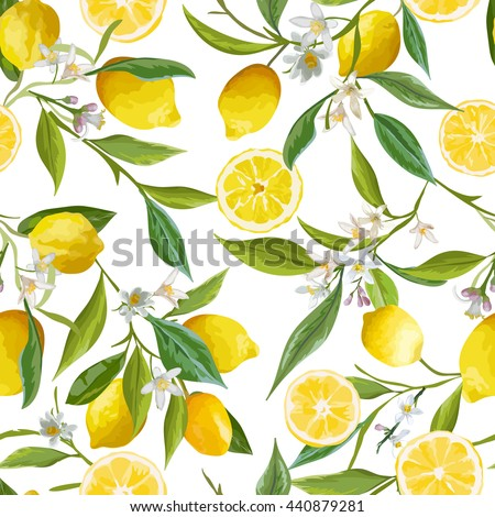 seamless floral pattern. lemon...