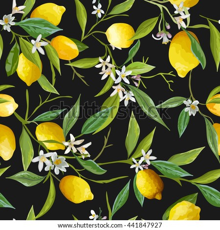 seamless floral pattern lemon